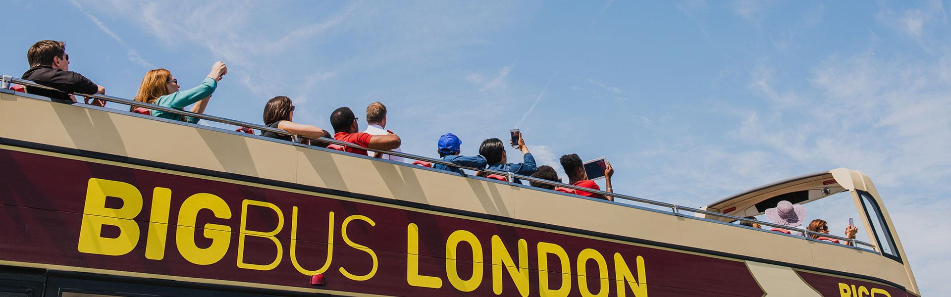 Passengers on London bus tour