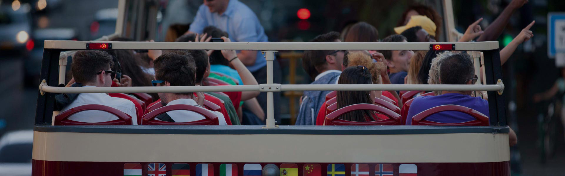 People on sightseeing bus tour in Philadelphia