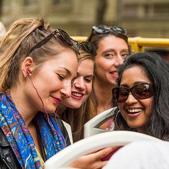 Friends on Hong Kong bus tour