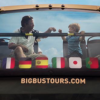 Father and son on a Big Bus Washington DC