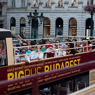 Passengers on a bus in Budapest