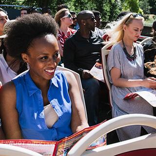 Passenger holding map on Big Bus Tour