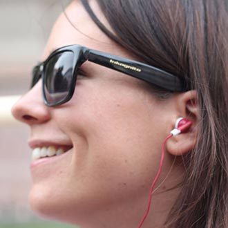 Women with earphones in