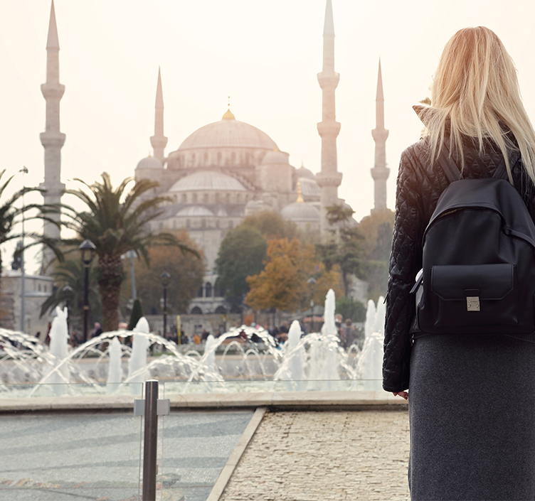 Lady sightseeing Istanbul in winter