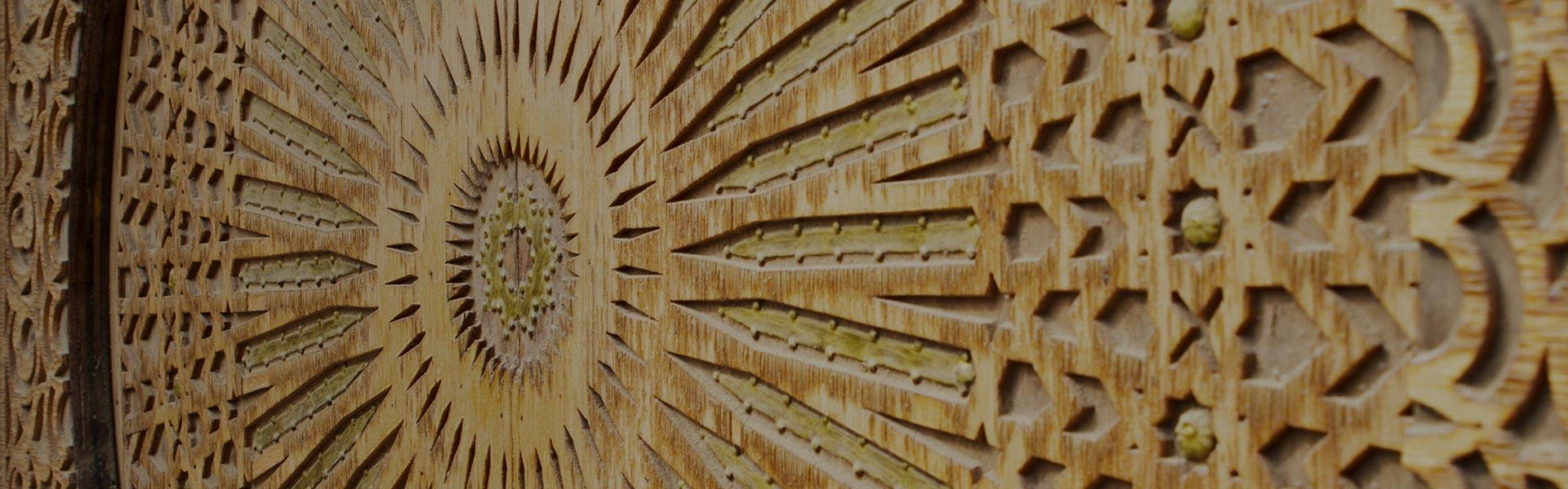 Elaborate wooden door in Abu Dhabi