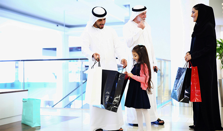 Family shopping at Abu Dhabi Mall