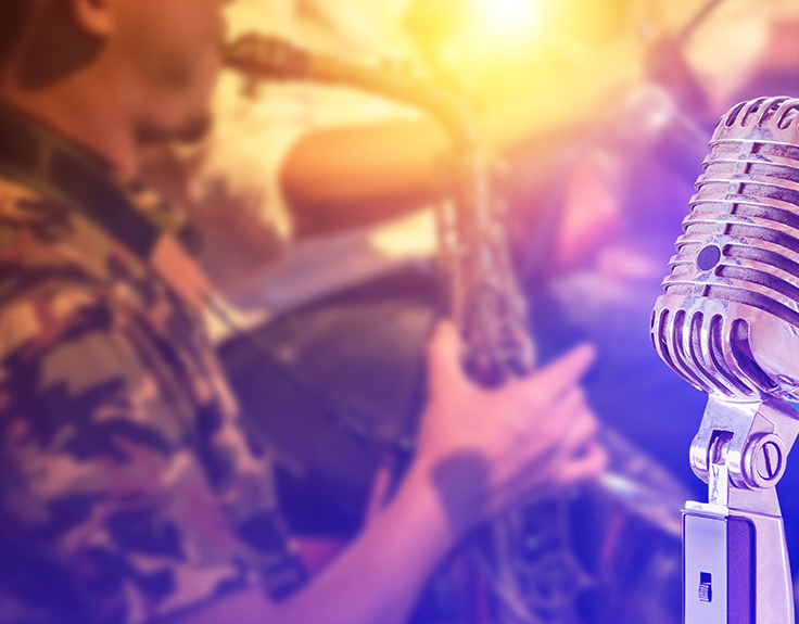 Saxophone player at a jazz club