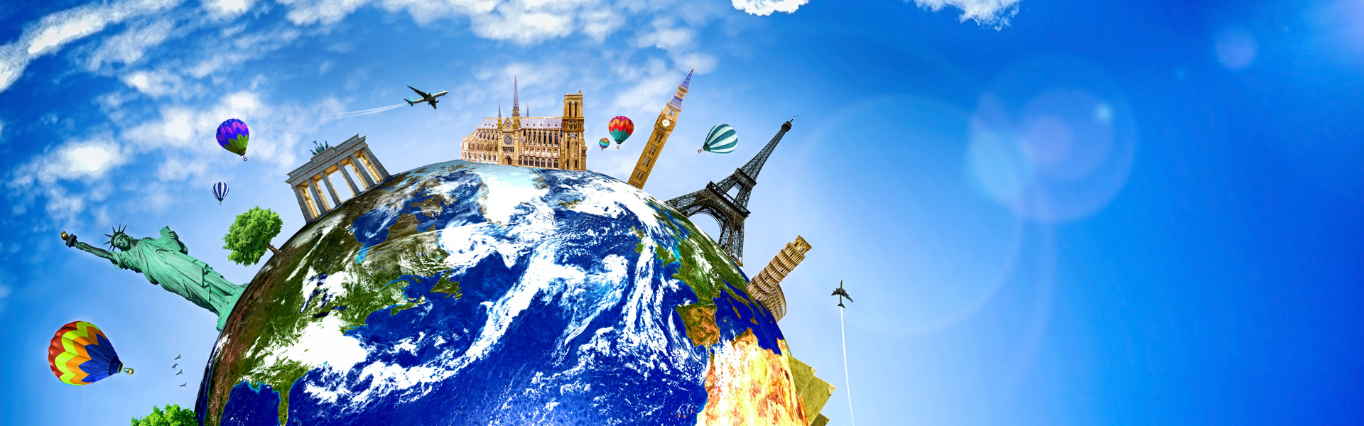 Globe with city landmarks
