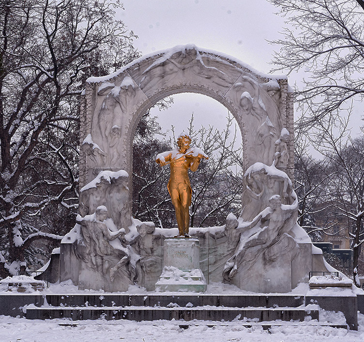 Winter City Park in Vienna covered in snow