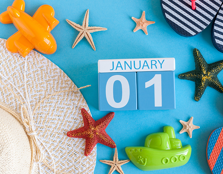 January 01 calendar with holiday accessories