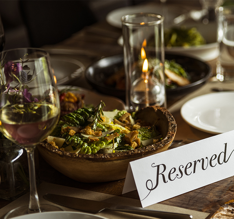 A reserved table in a restaurant