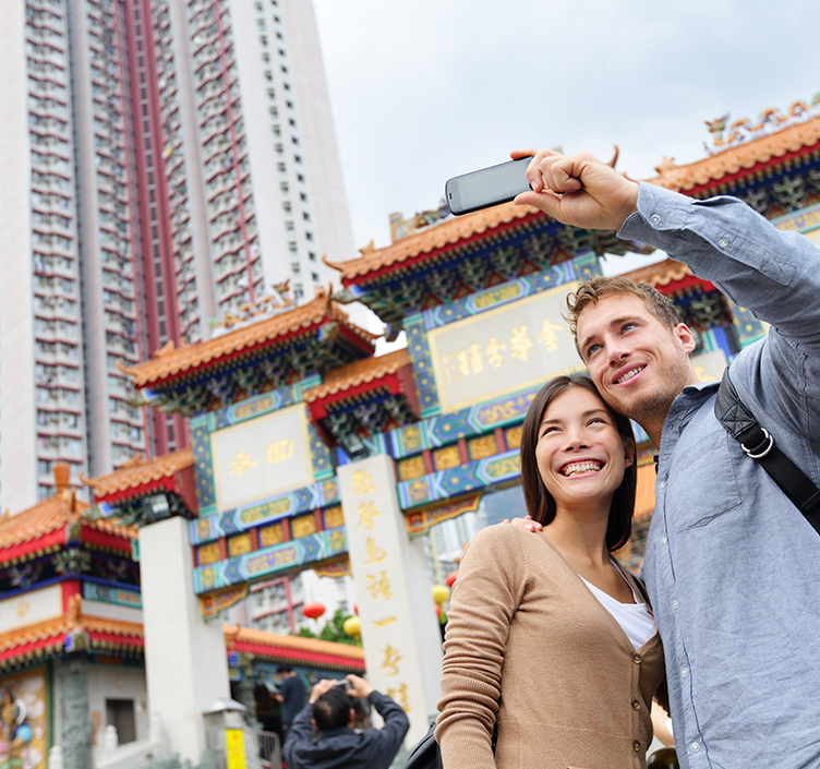 采取selfie的夫妇