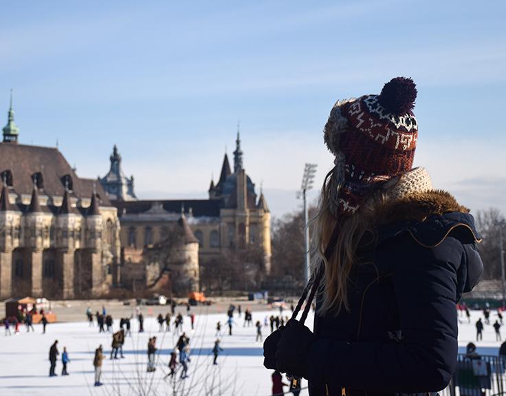 Girl watching ice skating