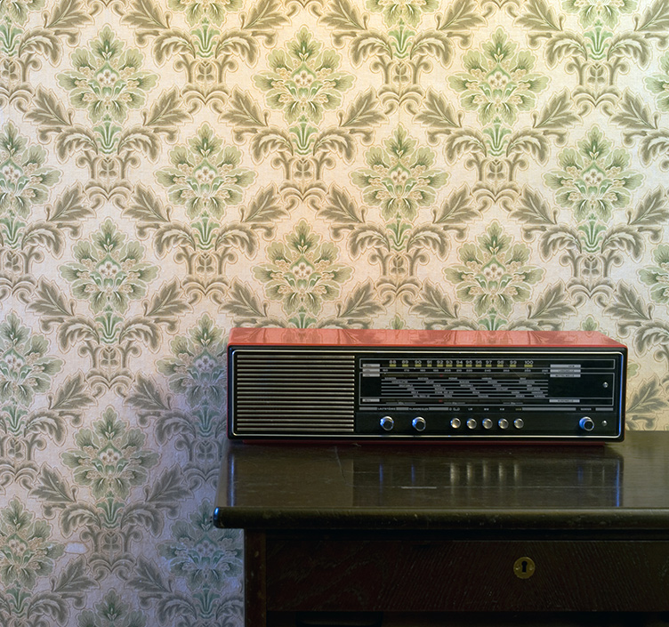 A radio in a tower block Plattenbau flat