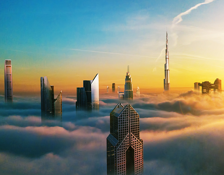 Clouds surrounding skyscrapers in Dubai