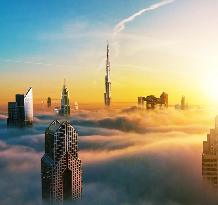 Clouds surrounding skyscrapers in Dubai