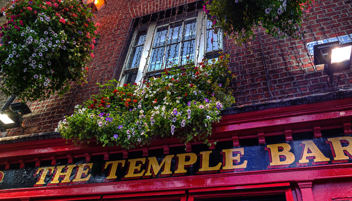 Temple Bar flowerboxes in Dublin