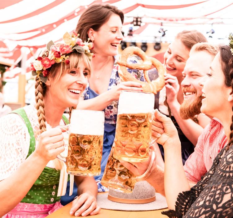 Crowd at Oktoberfest Sydney drinking beer