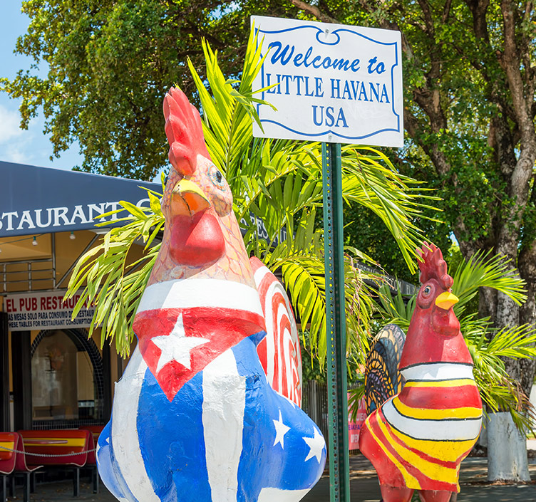 Welcome to Little Havana sign in front of chicken statue