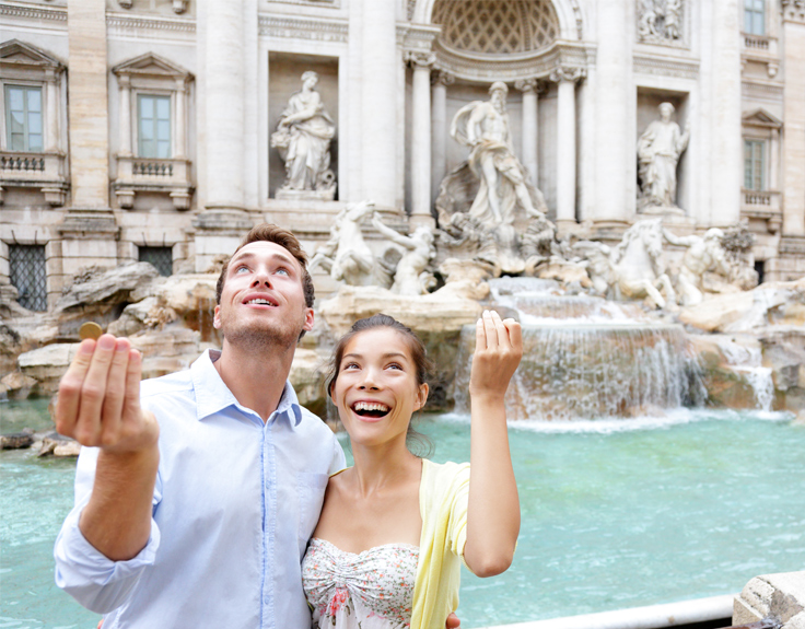 Couple throwing a coin in the Trevi Fountain, Rome