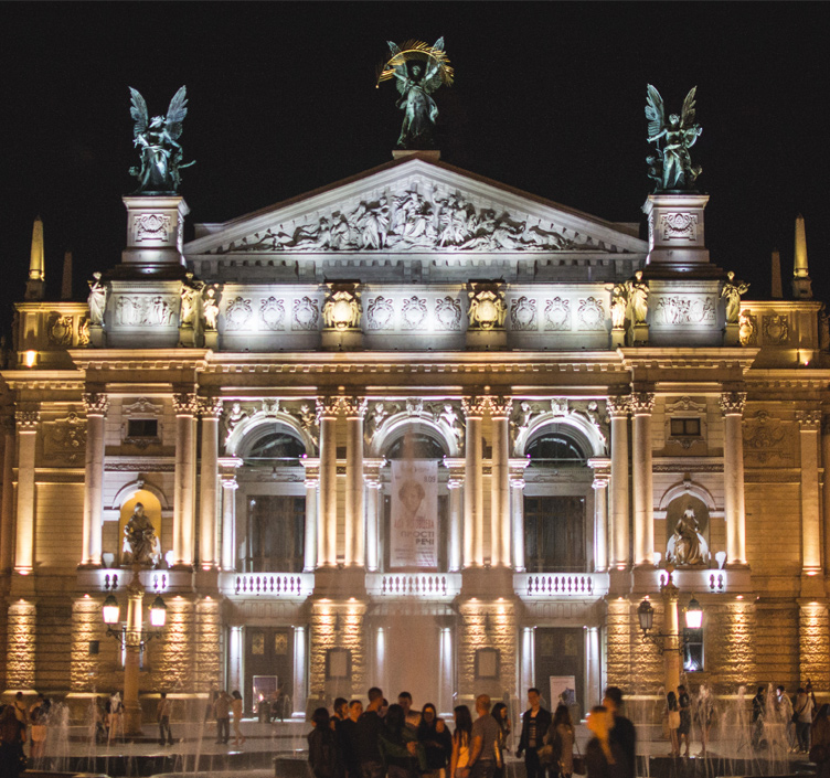 Opera House in Vienna lit up at night