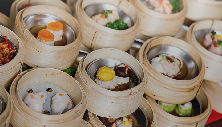 Variety of dim sum dishes