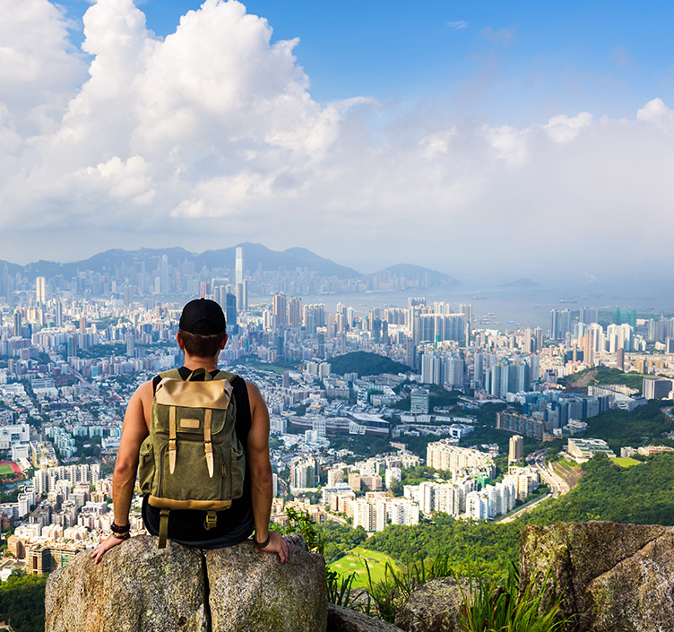 Man hiking in Hong Kong