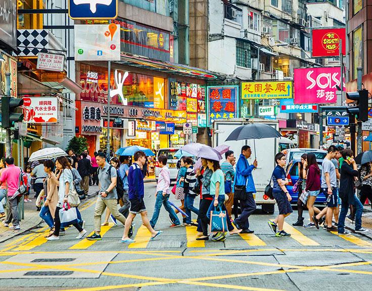 香港铜锣湾的繁忙街道