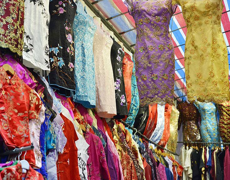 Chinese dresses at Ladies Market in Hong Kong