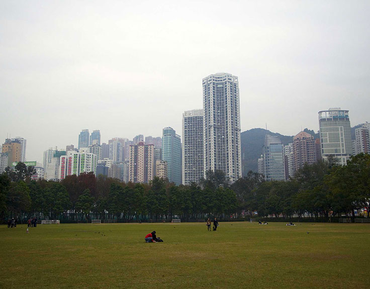 Victoria Park in Hong Kong on a cloudy day