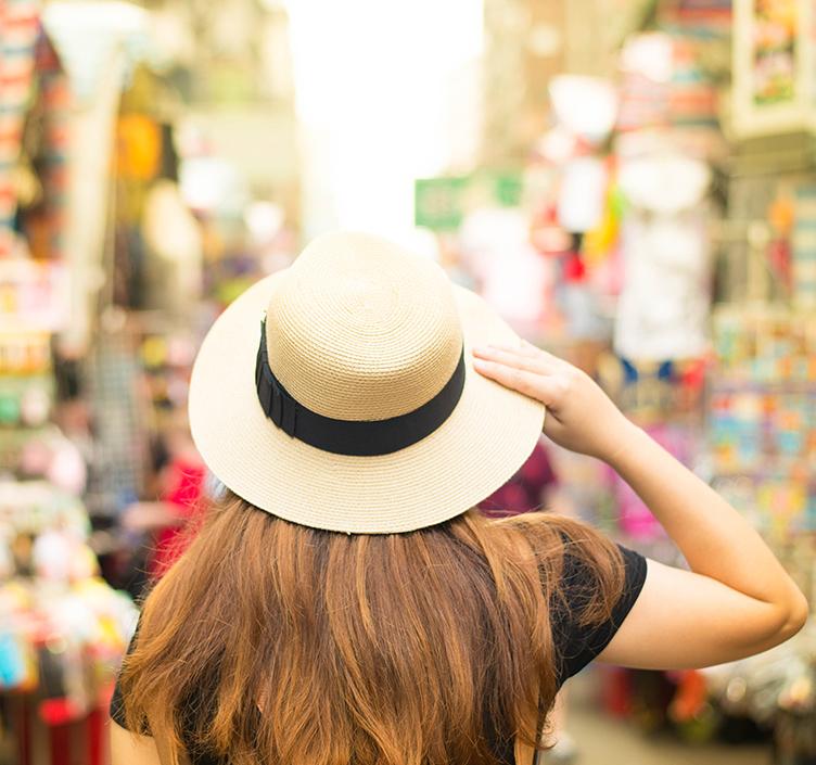 Lady shopping in a Hong Kong market