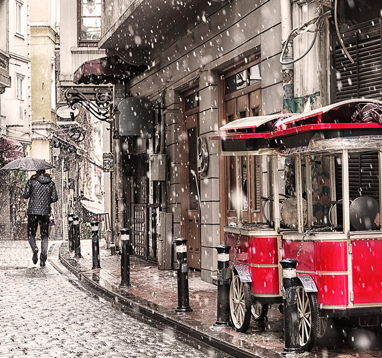 Istanbul tram covered in snow