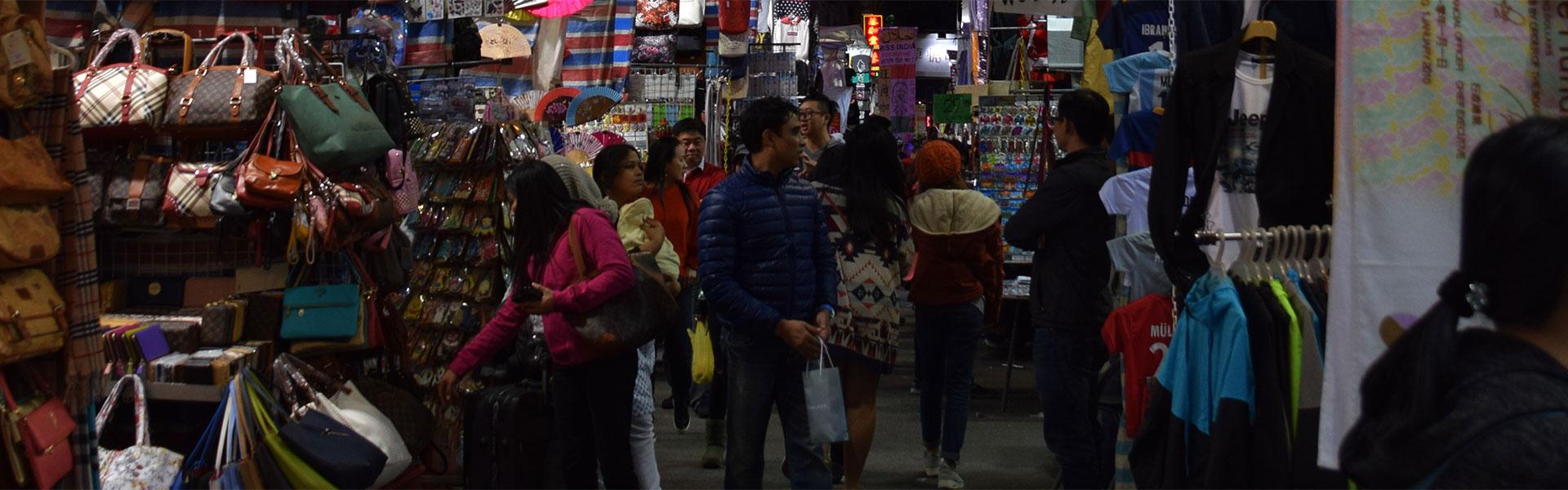 Street market in Lan Kwai Fong Hong Kong