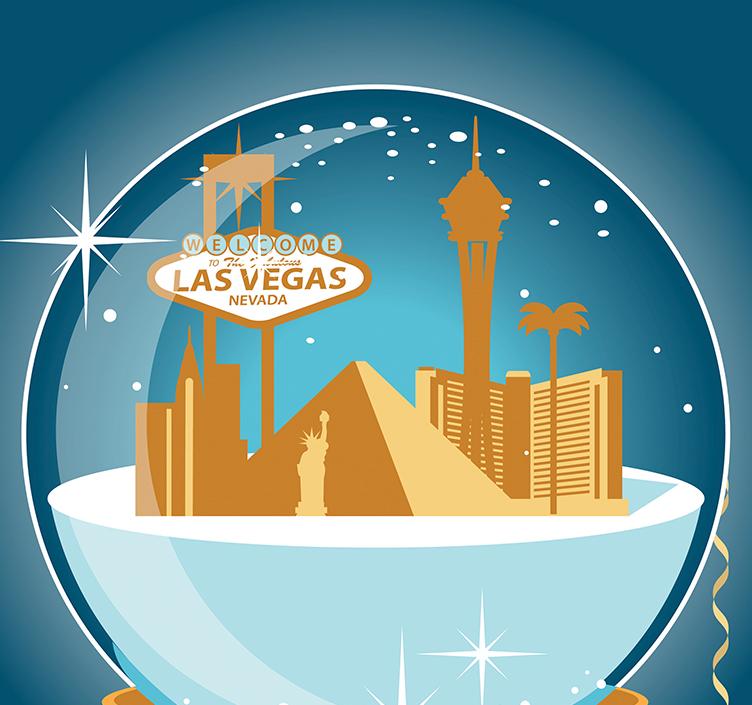 Snow globe showing Vegas in winter