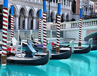 Gondolas at Venetian Hotel in Las Vegas