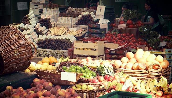 Fruit and veg market stall in London