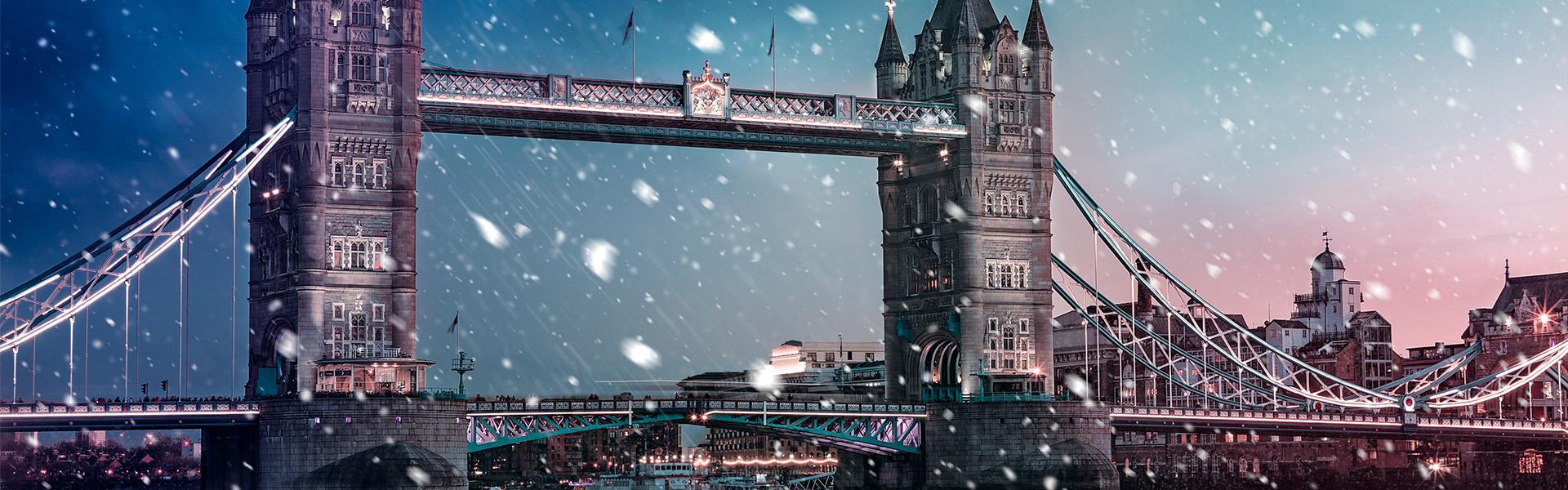 London skyline in winter