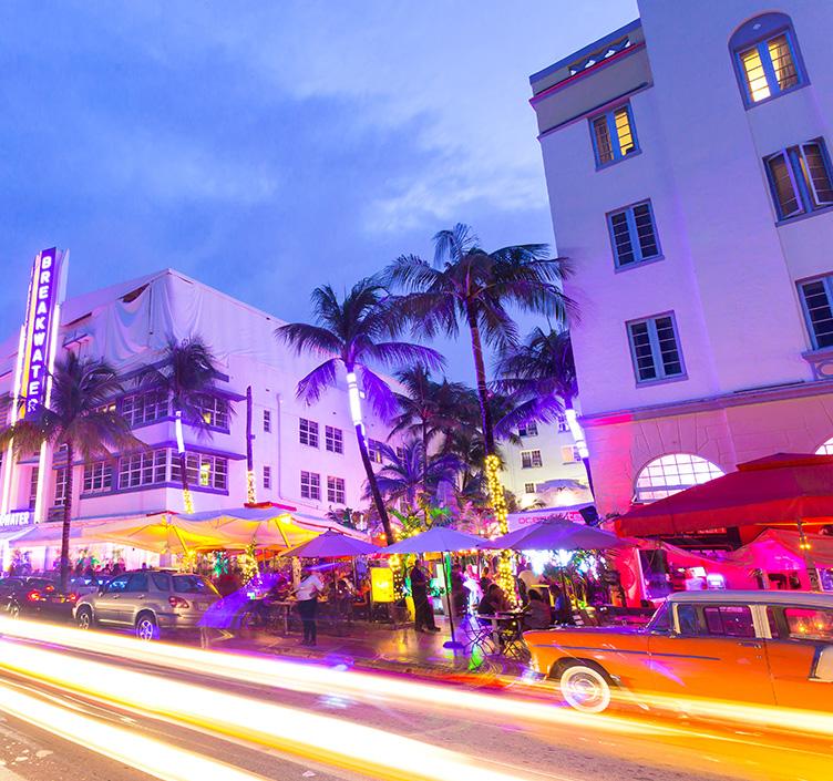 Ocean Driveat night in Miami