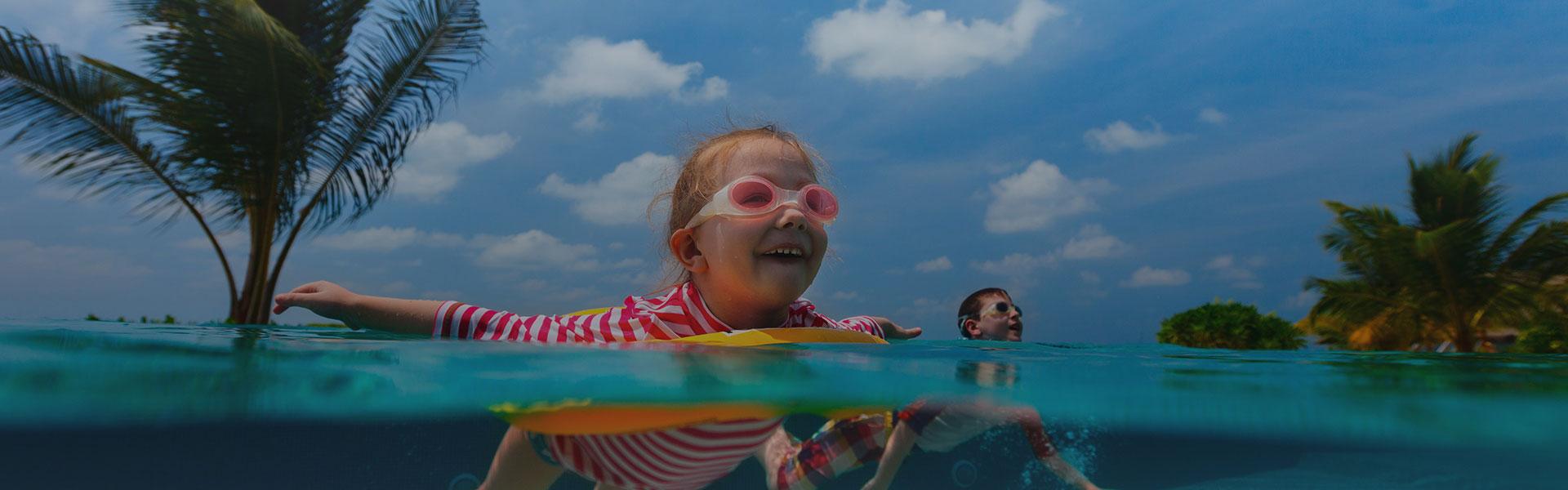 Kids enjoying swimming in Miami