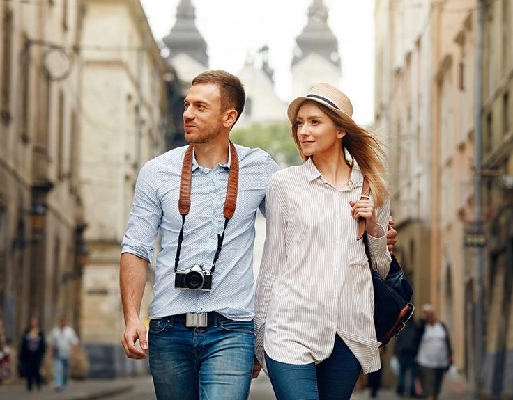 Couple romantique en ville