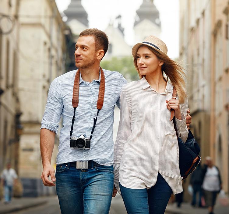 Romantic couple on city break