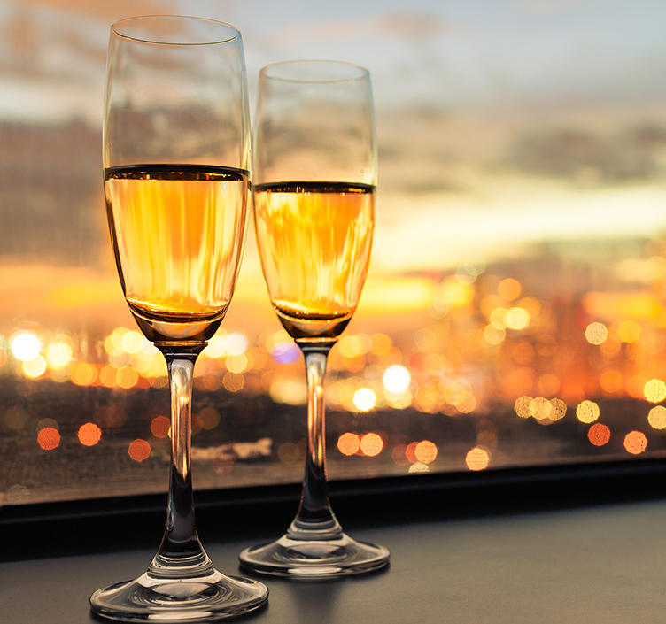 Champagne at a rooftop bar in London