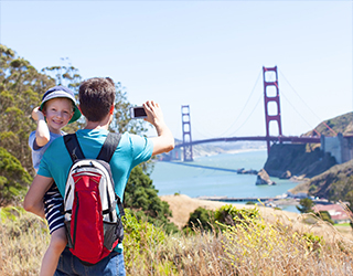 Father and son by the Golden Gate Bridge
