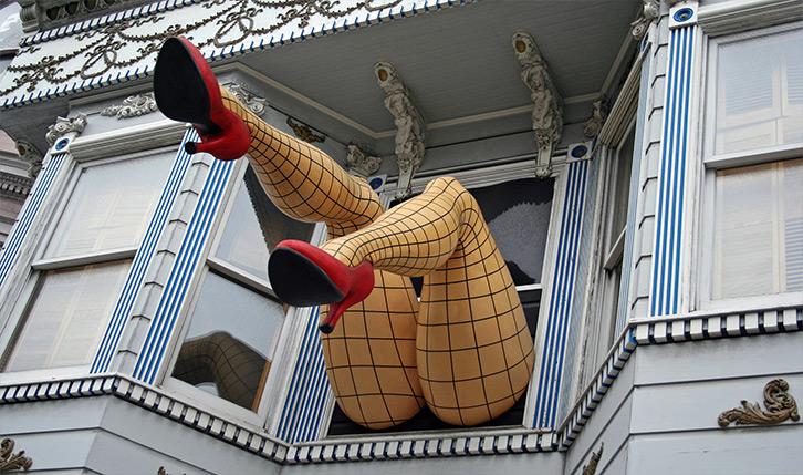 Ladies legs in Haight Ashbury San Francisco