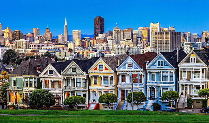 Pastel coloured houses in San Francisco