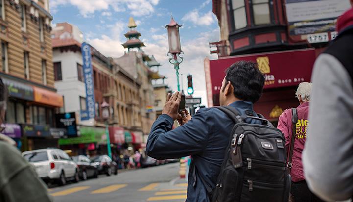 Tourist taking photo in San Francisco