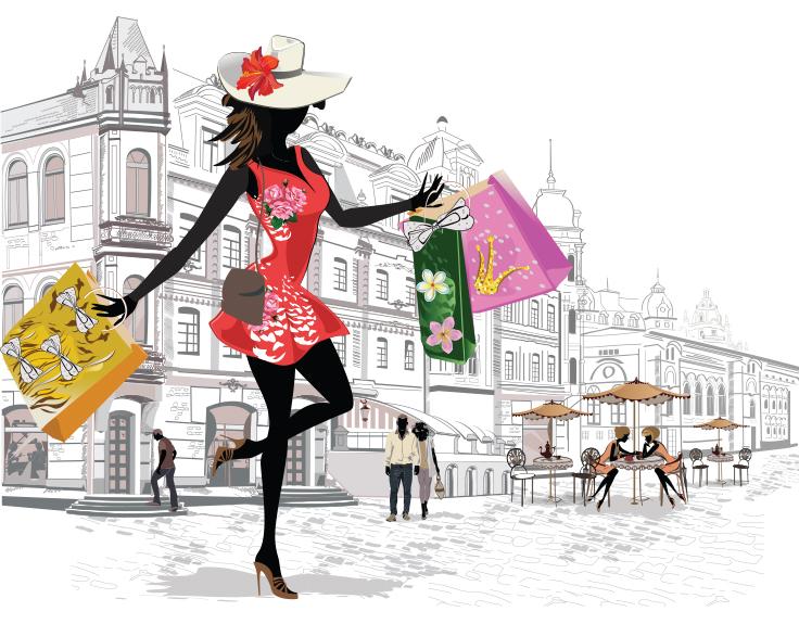 Illustration einer Dame mit vielen Einkaufstaschen