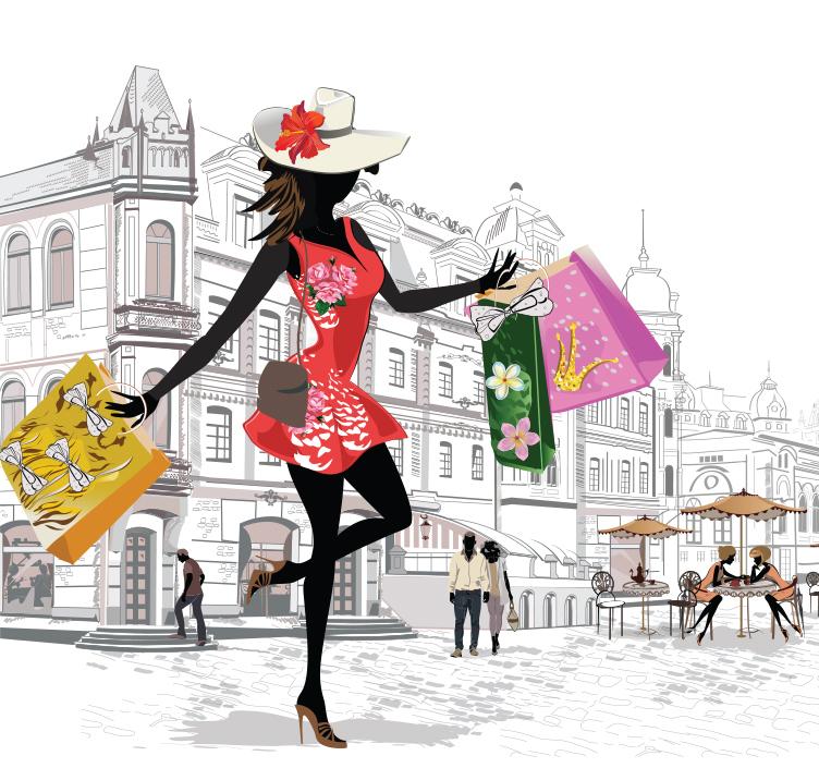 Illustration of lady shopping