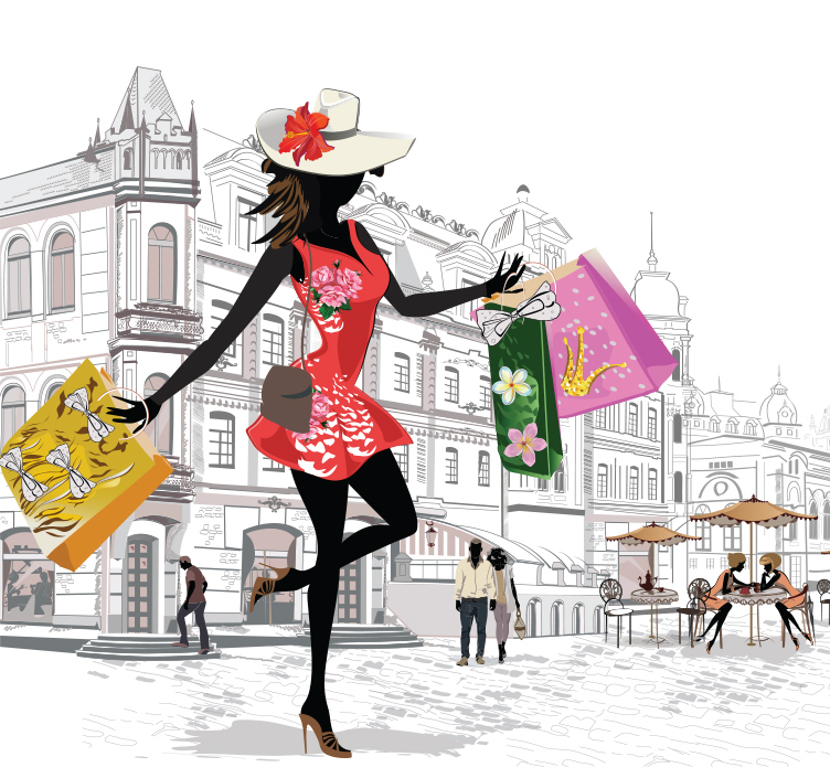 Illustration of lady shopping