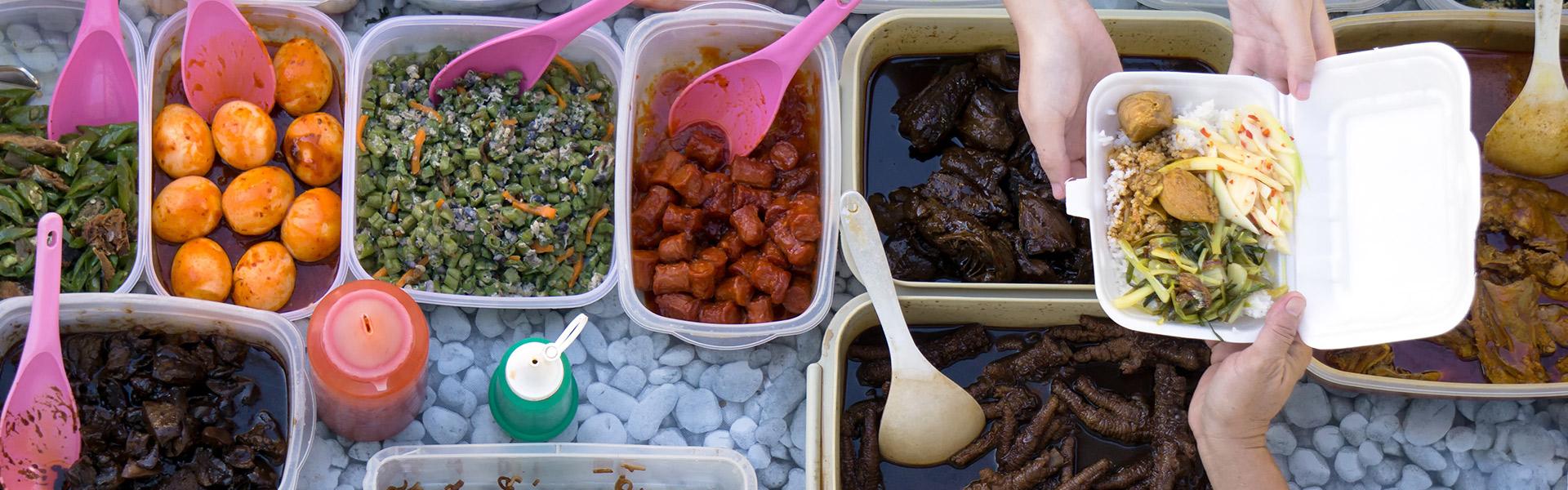 Various pots of street food